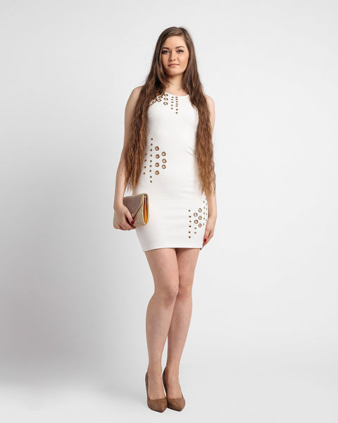 Eyelets Cream Bodycon Dress-Jezzelle