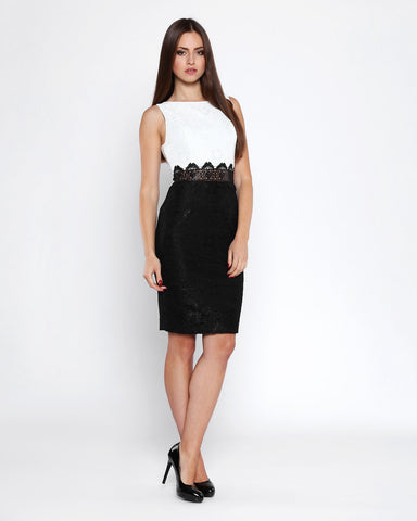 Contrast Lace Bodycon Dress - Jezzelle