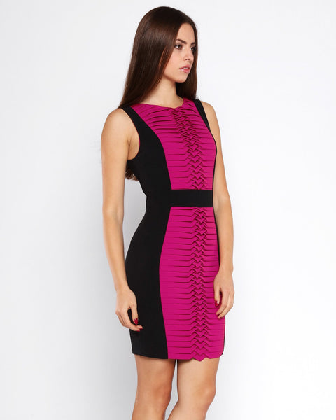 Fuchsia Panel Bodycon Dress - jezzelle  - 2