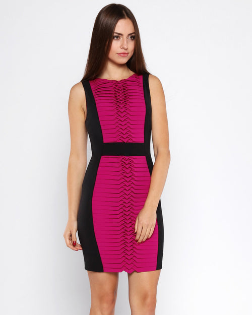 Fuchsia Panel Bodycon Dress - jezzelle  - 1