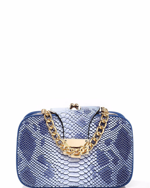 Python Skin Effect Blue Shoulder Bag - jezzelle  - 1