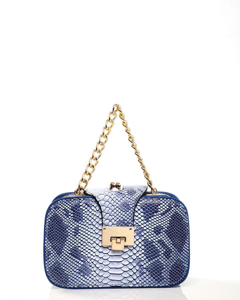 Python Skin Effect Blue Shoulder Bag - jezzelle  - 2