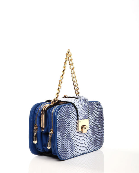 Python Skin Effect Blue Shoulder Bag - jezzelle  - 3