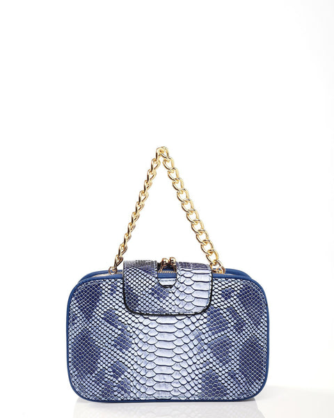 Python Skin Effect Blue Shoulder Bag - jezzelle  - 4