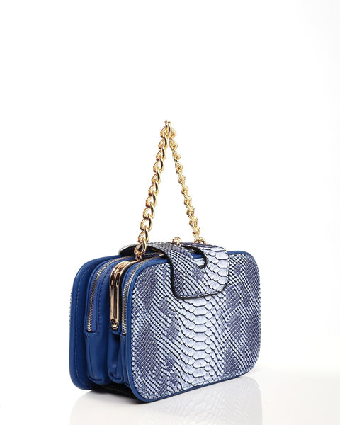 Python Skin Effect Blue Shoulder Bag - jezzelle  - 5