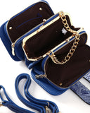 Python Skin Effect Blue Shoulder Bag - Jezzelle