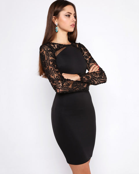 Lurex Lace Sleeves Bodycon Dress-Jezzelle
