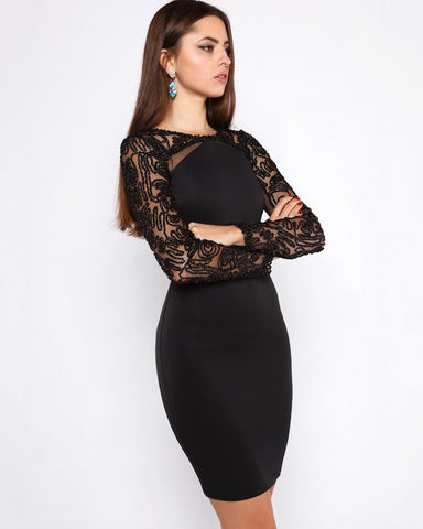 Lurex Lace Sleeves Bodycon Dress - Jezzelle