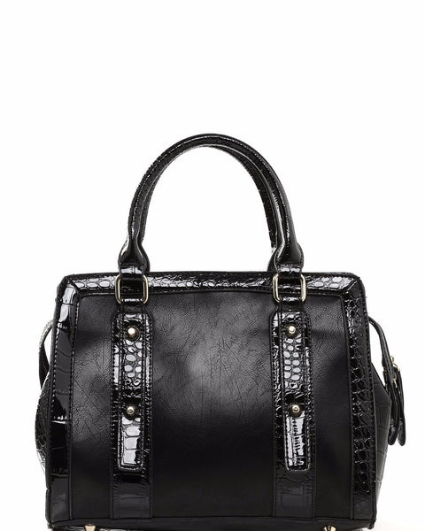 Matte Leather & Croc Skin Effect Black Handbag-Jezzelle