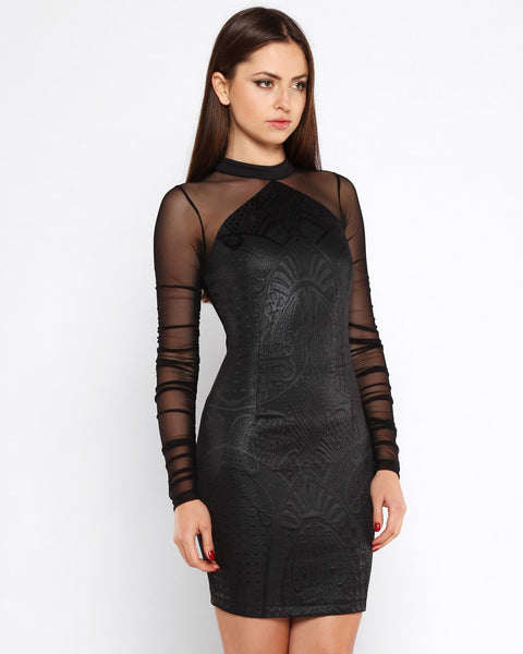 Embossed Design Faux Leather Bodycon Dress - Jezzelle