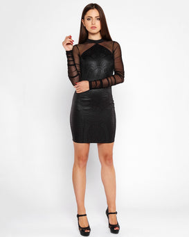 Embossed Design Faux Leather Bodycon Dress-Jezzelle