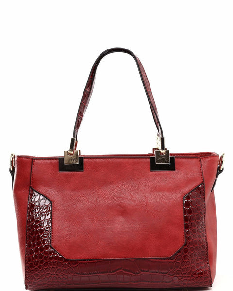 Matte Leather & Croc Skin Effect Red Handbag-Jezzelle