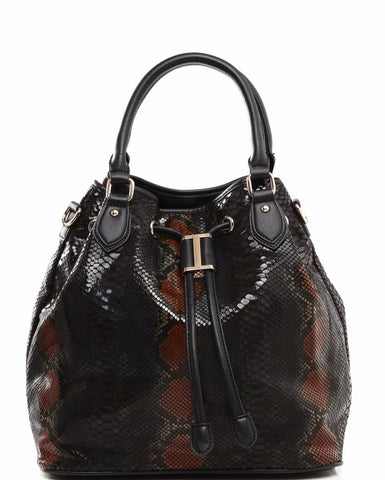 Python Print Black Drawstring Tote Bag