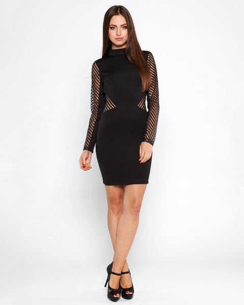 Glitter Stripes Mesh Bodycon Dress - jezzelle  - 3