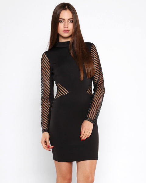 Glitter Stripes Mesh Bodycon Dress - jezzelle  - 2