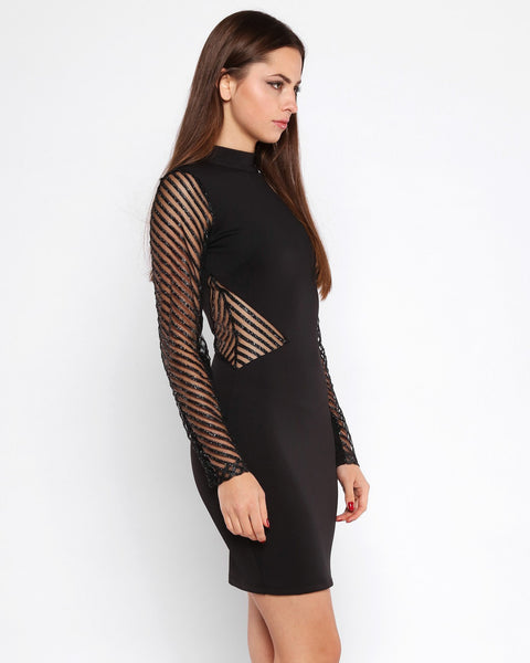 Glitter Stripes Mesh Bodycon Dress - jezzelle  - 4