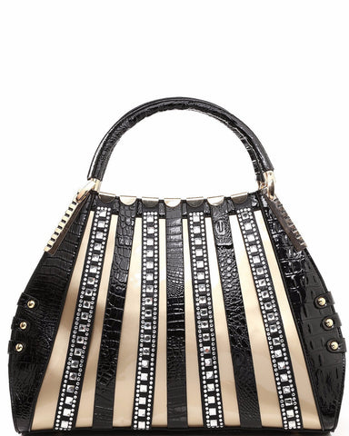 Encrusted Straps Fashion Bag