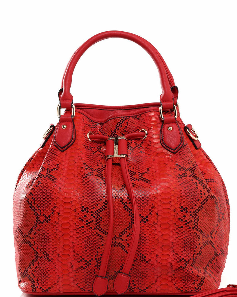 Python Print Red Drawstring Tote Bag-Jezzelle