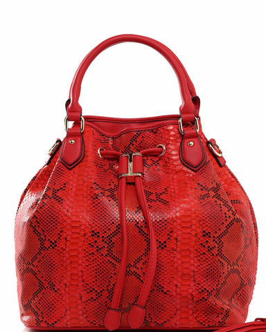 Python Print Red Drawstring Tote Bag - Jezzelle