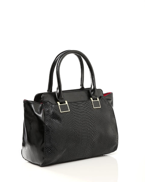Textured Black Handbag-Jezzelle