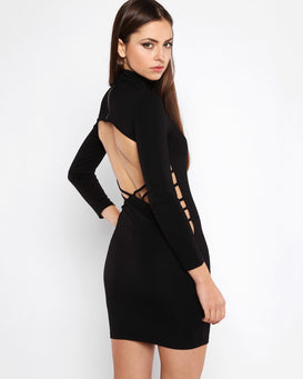 Cut Out Back Polo Neck Bodycon Dress - jezzelle  - 2