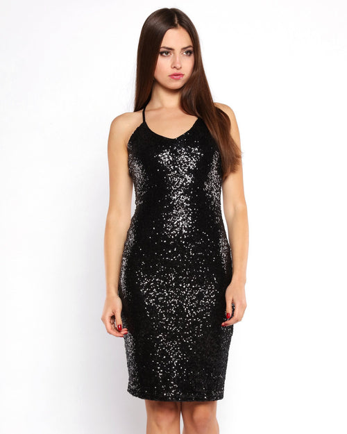 Criss Cross Back Sequin Midi Dress - jezzelle  - 2