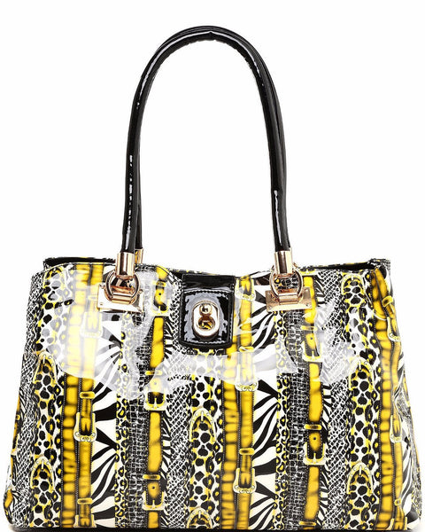 Mixed Print Yellow Shopper Bag-Jezzelle
