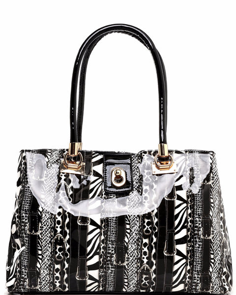 Mixed Print Black Shopper Bag - Jezzelle