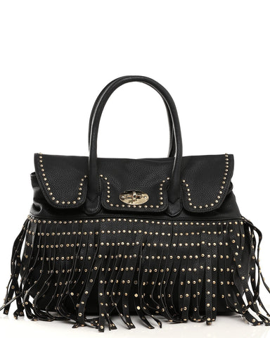 Studded Tassels Large Tote Bag