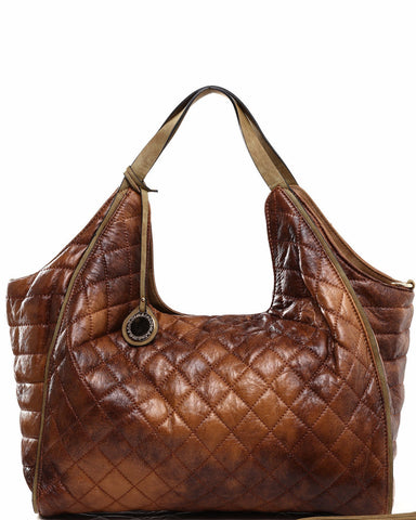 Quilted Brown Hobo Shoulder Bag - Jezzelle