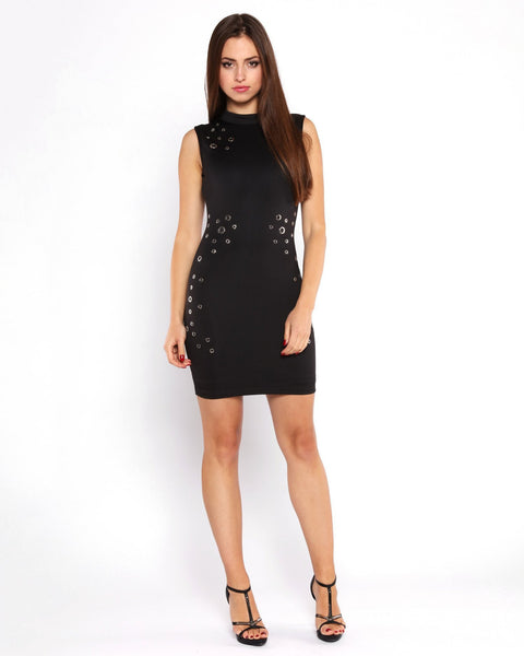 Eyelets Details Bodycon Dress-Jezzelle