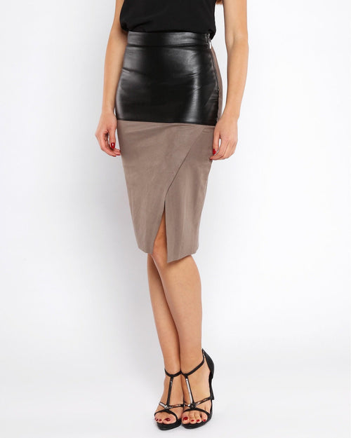 Faux Suede Leather Midi Skirt-Jezzelle