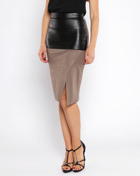 Faux Suede Leather Midi Skirt - Jezzelle