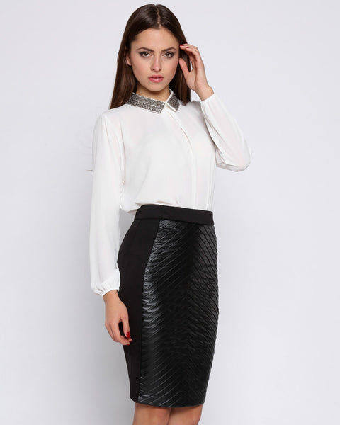 Front Black Faux Leather Pencil Skirt-Jezzelle