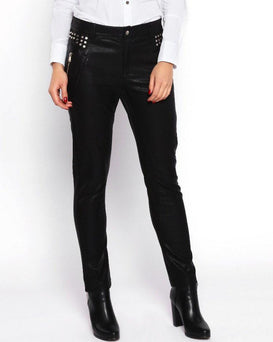 Studded Faux Leather Trousers-Jezzelle