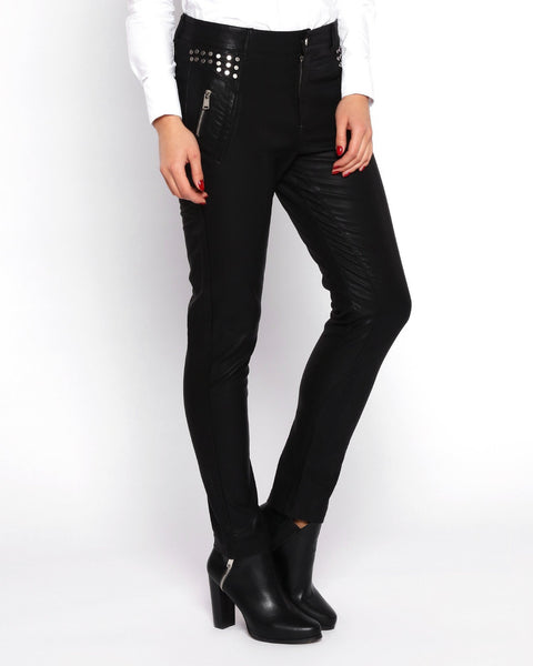 Studded Faux Leather Trousers - Jezzelle