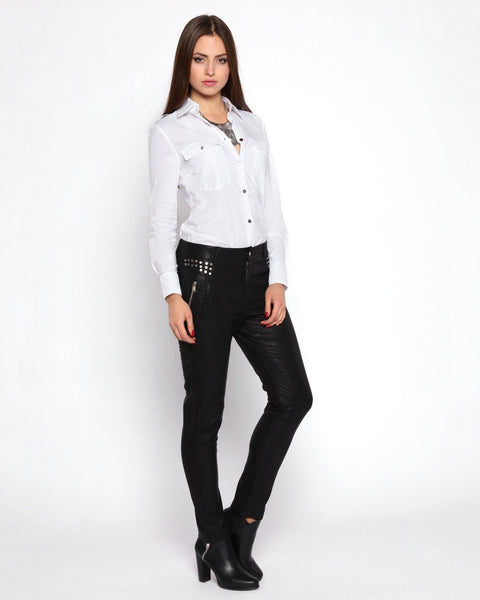 Studded Faux Leather Trousers - jezzelle  - 3