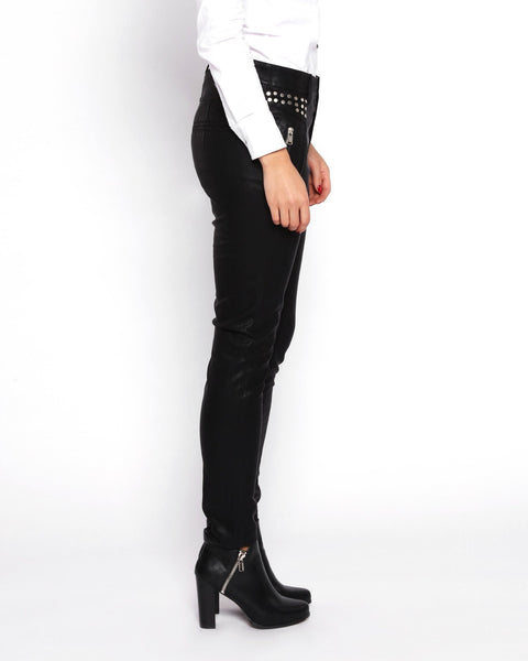 Studded Faux Leather Trousers - jezzelle  - 4