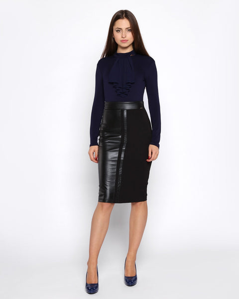 Half Black Faux Leather Pencil Skirt - Jezzelle