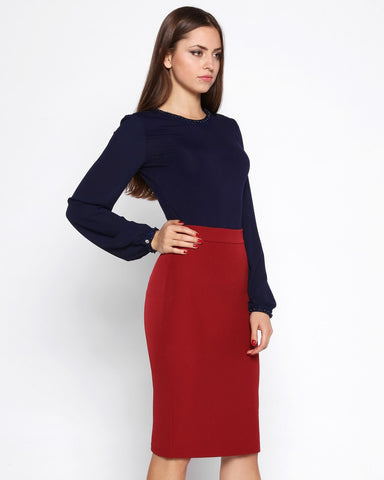 Back Zip Pencil Skirt-Jezzelle