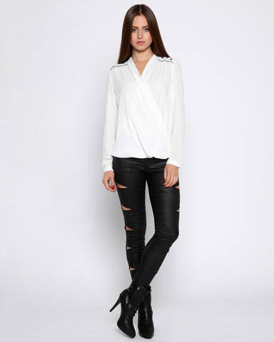Eyelets White Wrap Blouse