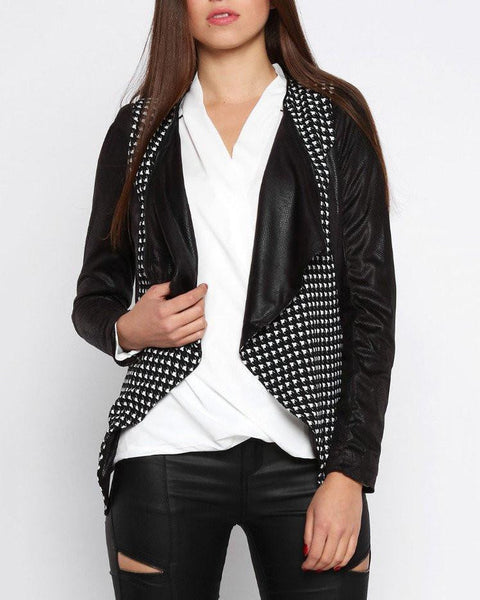 Faux Leather Black Blazer - Jezzelle