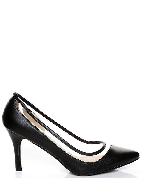 Black See Through Pump Shoes-Jezzelle