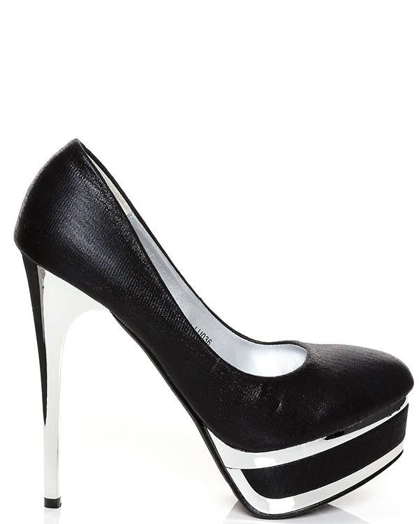 Silver High Heel Platform Shoes-Jezzelle