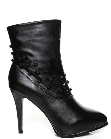 Studded High Heel Ankle Boots - Jezzelle