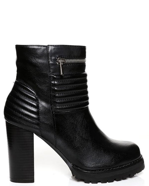 Zip Detail Quilted Chunky Boots - Jezzelle