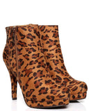 LEOPARD PRINT HIGH HEEL ANKLE BOOTS-Jezzelle