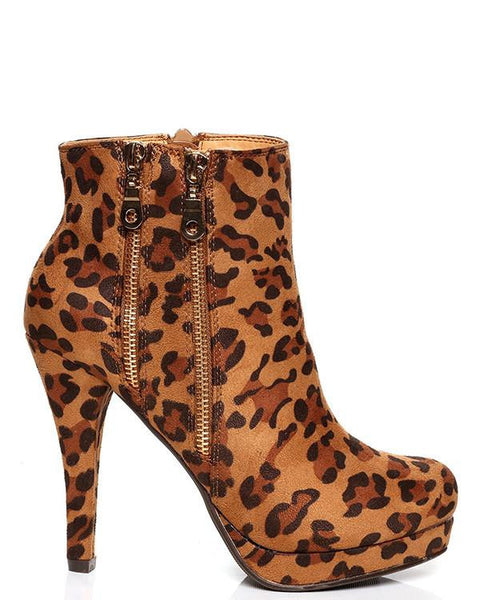 LEOPARD PRINT HIGH HEEL ANKLE BOOTS - Jezzelle