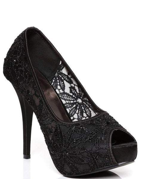 Encrusted Lace High Heel Shoes-Jezzelle
