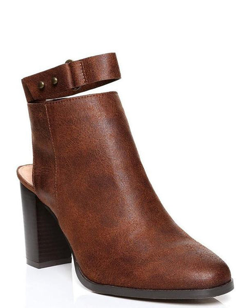 Vintage Brown Ankle Strap Boots - Jezzelle